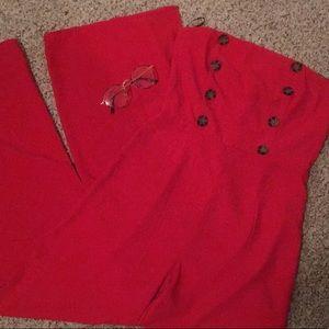 red strapless jumpsuit w/ button detail & legslits
